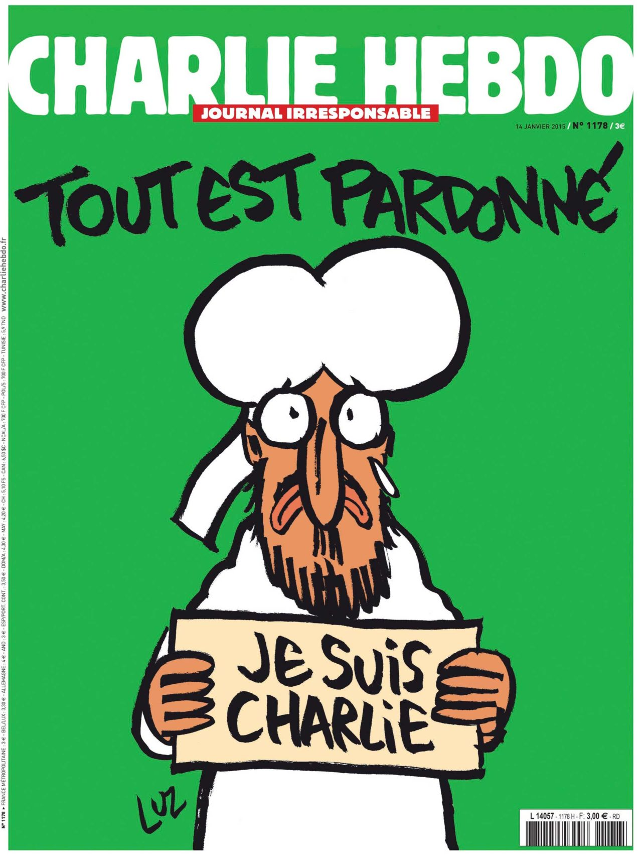 Cover of Charlie Hebdo after attacks