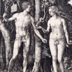 Adam and Eve standing on either side of the tree of knowledge with the serpent. In the foreground a cat.