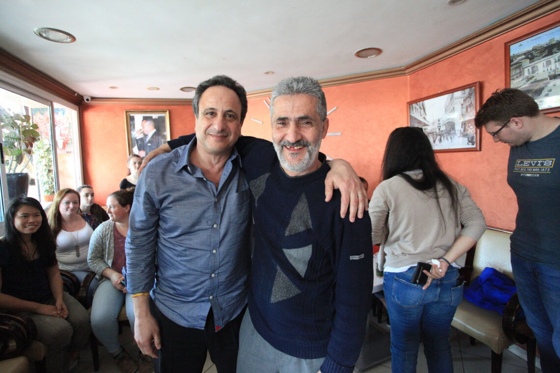 Anouar with the waiter Mohamed in Cafe Smara, April 2018
