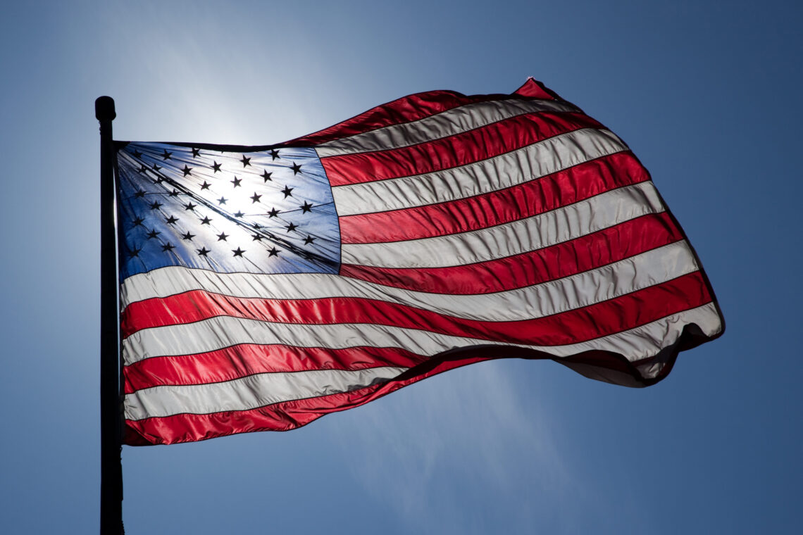 US Flag Backlit by the Sun